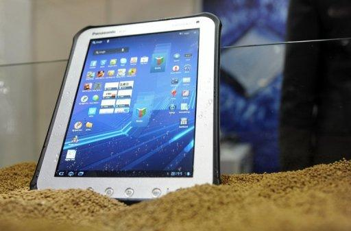 A  Panasonic Toughpad is displayed during the CommunicAsia telecom expo and conference in Singapore