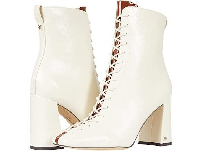 white boots, lace up boots, sam edelman