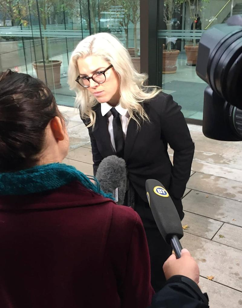 Lewis outside of a Vancouver court during the strike hearing.