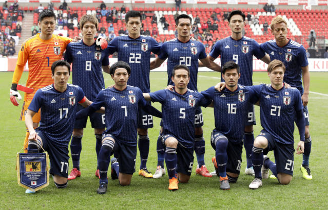 FILE - In this March 27, 2018, file photo, Japan's national team poses for a team picture prior to an international friendly soccer match between Japan and Ukraine at Maurice Dufrasne Stadium in Liege, Belgium. Japan is expected to name its 23-man squad for the World Cup on May 31, several days ahead of the June 4 deadline set by soccer's world governing body FIFA. (AP Photo/Olivier Matthys, File)