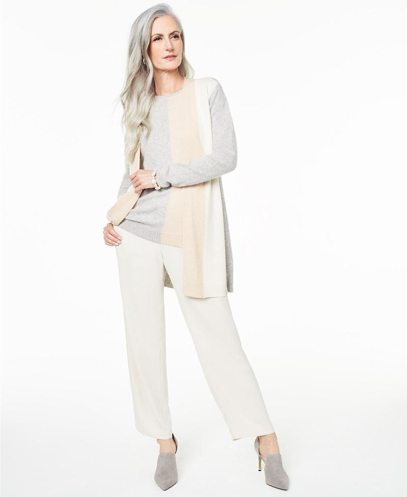 Colorblocked Cashmere Cardigan. (Photo: Macy's)