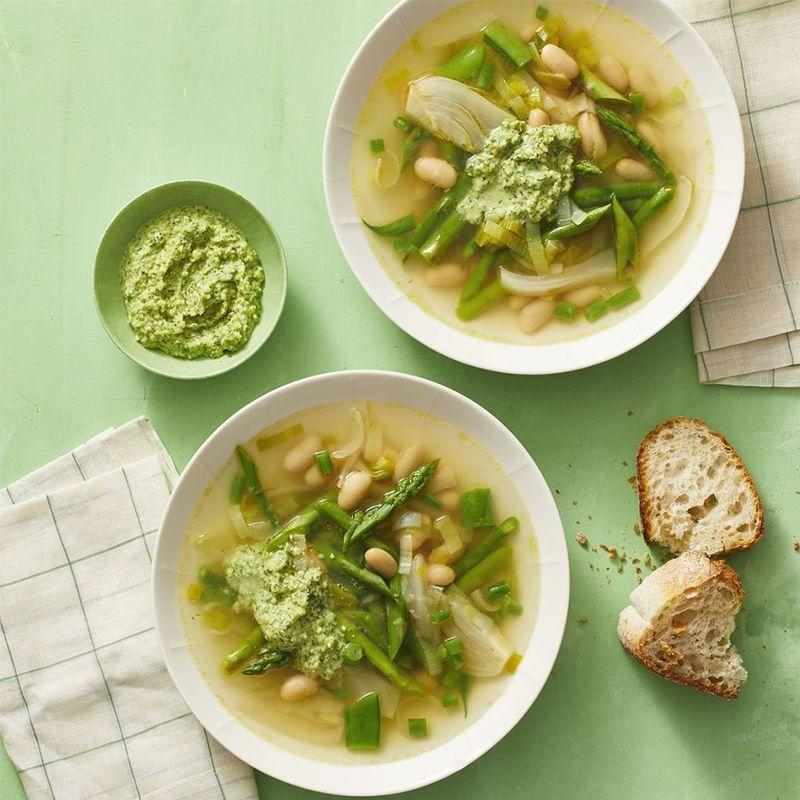 """<p>There's something about a chunky soup that leaves you satisfied and warm inside. This veggie heavy soup is great come winter, summer, spring or fall.</p><p><em><a href=""""https://www.womansday.com/food-recipes/a32301518/spring-minestrone-recipe/"""" rel=""""nofollow noopener"""" target=""""_blank"""" data-ylk=""""slk:Get the Spring Minestrone recipe."""" class=""""link rapid-noclick-resp"""">Get the Spring Minestrone recipe. </a></em></p>"""