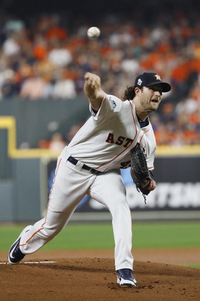 Houston Astros starting pitcher Gerrit Cole throws against the Washington Nationals during the first inning of Game 1 of the baseball World Series Tuesday, Oct. 22, 2019, in Houston. (AP Photo/Matt Slocum)