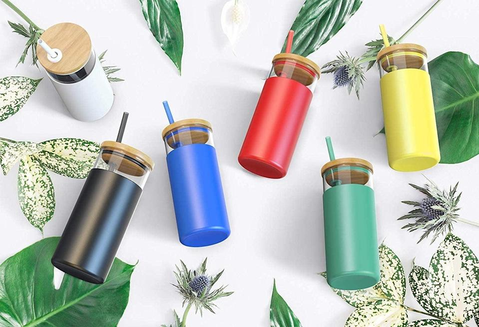 <p>The <span>Tronco 20oz Glass Tumbler Glass Water Bottle</span> ($16) comes with a bamboo lid, silicone straw, and protective sleeve. It's great for travel and your favorite iced drinks.</p>