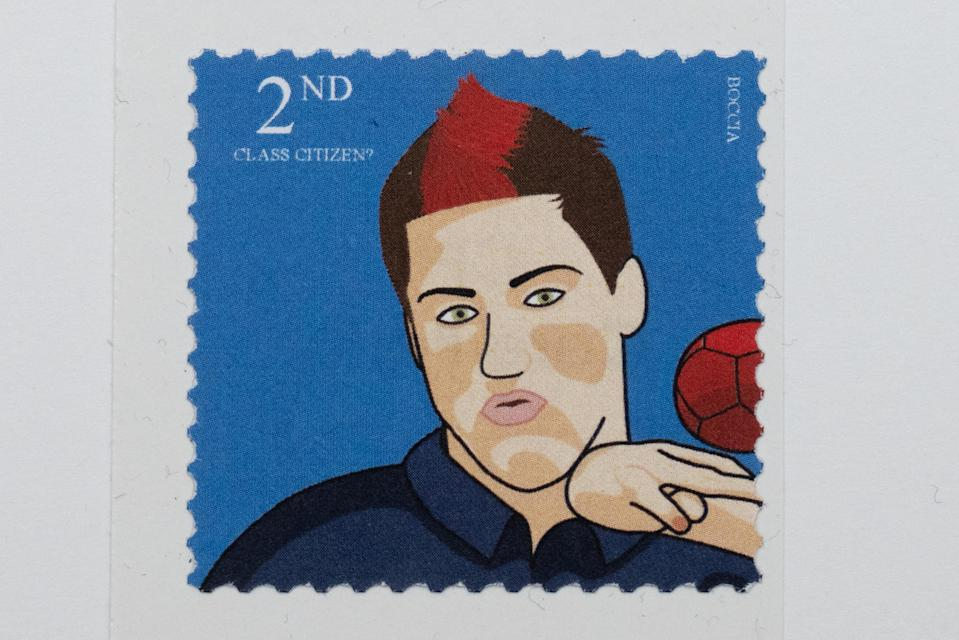 Boccia player David Smith MBE features on one of the mock stamps