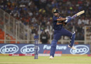 India's Shreyas Iyer bats during the first Twenty20 cricket match between India and England in Ahmedabad, India, Friday, March 12, 2021. (AP Photo/Aijaz Rahi)