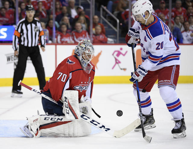 Washington Capitals goaltender Braden Holtby (70) battles for the puck against New York Rangers left wing Chris Kreider (20) during the second period of an NHL hockey game, Wednesday, Oct. 17, 2018, in Washington. (AP Photo/Nick Wass)