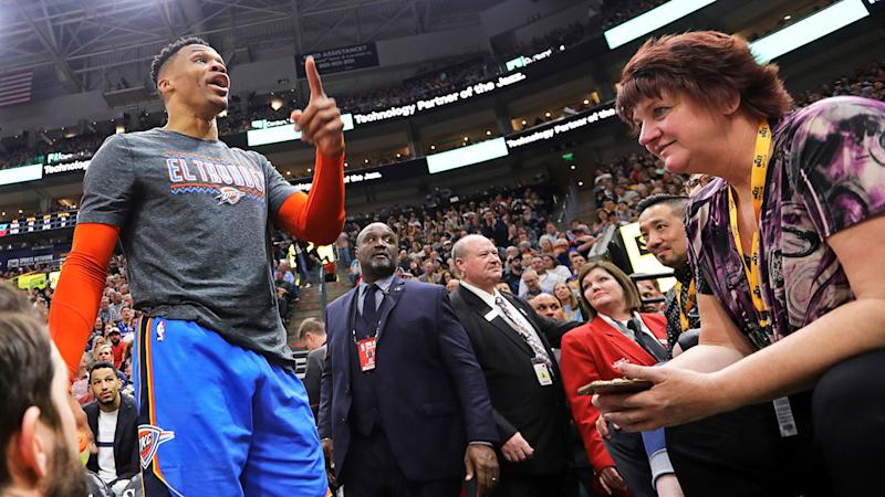 Pictured here, Russell Westbrook is being sued by a spectator he had a verbal altercation with.