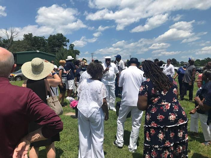 Ernest Bason, Jr., a cousin of Thorpe's, sings a hymn during the memorial for her at Beechwood Cemetery in Durham on Sunday, July 4, 2021.
