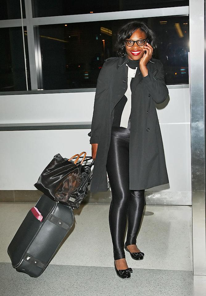 """We understand the need to travel in comfy clothing; however, Serena Williams' shiny stirrup pants have got to go! <a href=""""http://www.splashnewsonline.com"""" target=""""new"""">Splash News</a> - December 11, 2008"""
