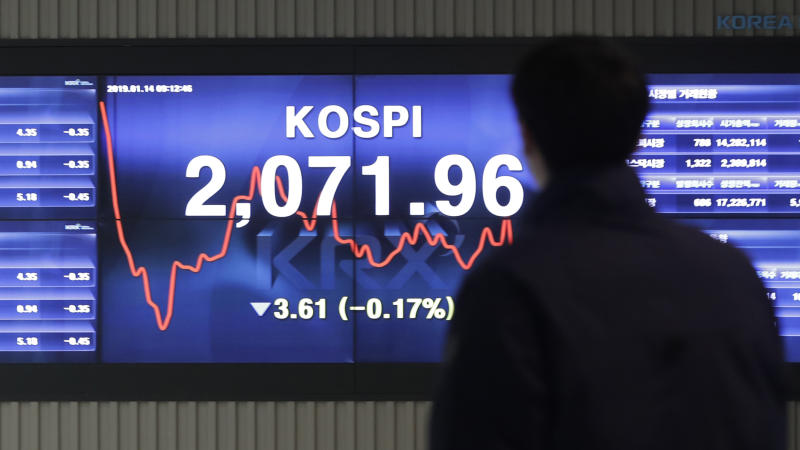 A man walks by the screen showing the Korea Composite Stock Price Index (KOSPI) at the Korea Exchange in Seoul, South Korea, Monday, Jan. 14, 2019. Shares were lower in Asia on Monday, extending the latest losses on Wall Street, as China reported a slowdown in exports. (AP Photo/Lee Jin-man)
