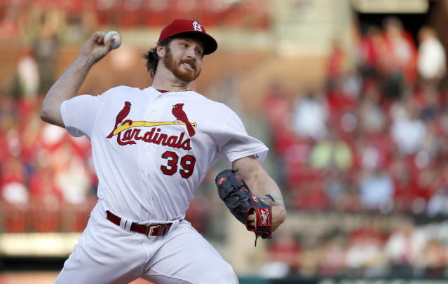 St. Louis Cardinals starting pitcher Miles Mikolas throws during the first inning of a baseball game against the Kansas City Royals Monday, May 21, 2018, in St. Louis. (AP Photo/Jeff Roberson)