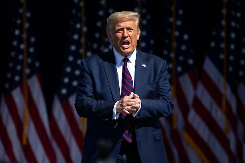 President Donald Trump arrives to speak to a crowd of supporters at Mariotti Building Products in Old Forge, Pa. on Thursday, Aug. 20, 2020: AP