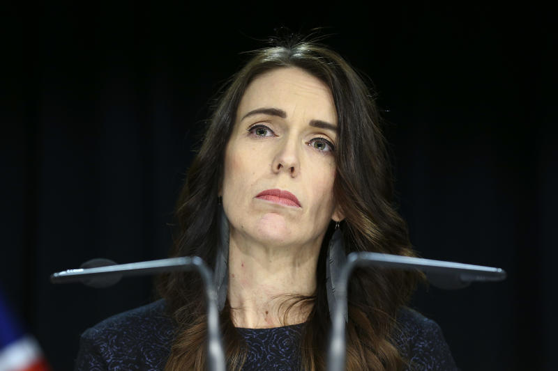Photo shows Prime Minister Jacinda Ardern on Tuesday announcing sacking of Iain Lees-Galloway.