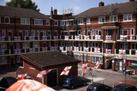 The Kirby Estate, which has been decorated with hundreds of England flags, is seen in London