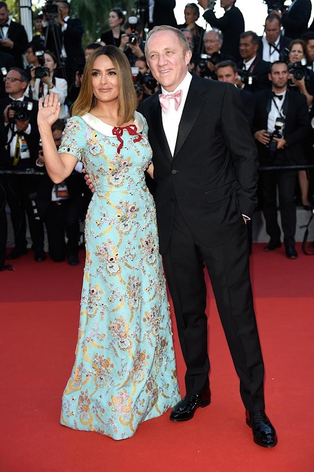<p>Salma Hayek and Francois-Henri Pinault attend the 70th Anniversary screening on May 23, 2017 in Cannes, France. (Photo: Antony Jones/Getty Images) </p>