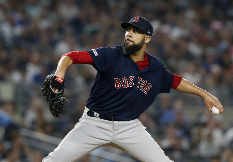 NEW YORK, NEW YORK - AUGUST 04: David Price #10 of the Boston Red Sox pitches during the first inning against the New York Yankees at Yankee Stadium on August 04, 2019 in New York City. (Photo by Jim McIsaac/Getty Images)