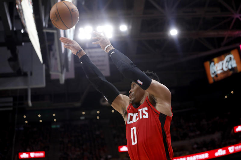 Houston Rockets' Russell Westbrook shoots during the first half of the team's NBA basketball game against the Utah Jazz on Saturday, Feb. 22, 2020, in Salt Lake City. (AP Photo/Kim Raff)