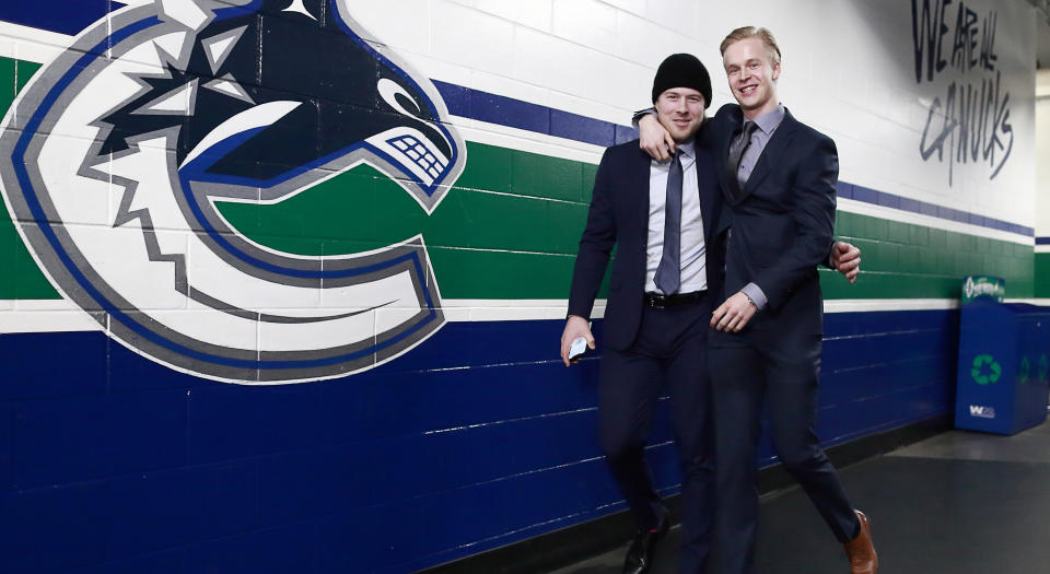"Elias Pettersson's impressive performance in the Hardest Shot competition resulted in a healthy donation going towards Parkinson's research. (Photo by Jeff Vinnick/NHLI via Getty Images)""n"