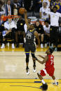 Andre Iguodala #9 of the Golden State Warriors dunks the ball against the Toronto Raptors during Game Four of the 2019 NBA Finals at ORACLE Arena on June 07, 2019 in Oakland, California. (Photo by Lachlan Cunningham/Getty Images)