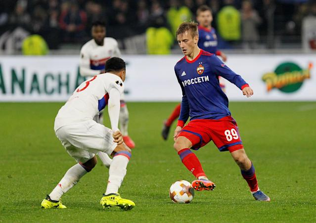 Soccer Football - Europa League Round of 16 Second Leg - Olympique Lyonnais vs CSKA Moscow - Groupama Stadium, Lyon, France - March 15, 2018 CSKA Moscow's Konstantin Kuchaev in action with Lyon's Kenny Tete REUTERS/Emmanuel Foudrot