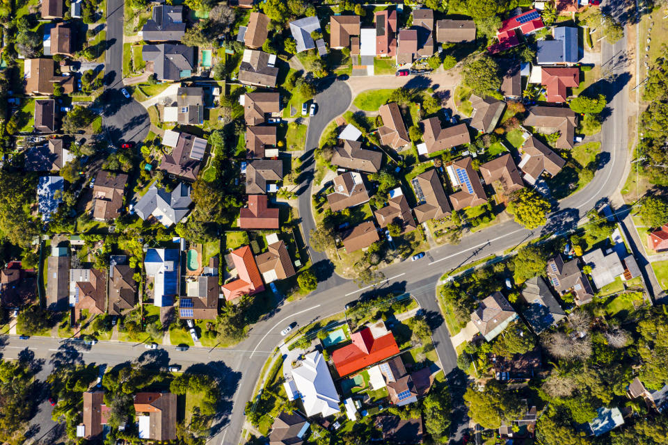 Pictured: Australian suburb with houses. Image: Getty