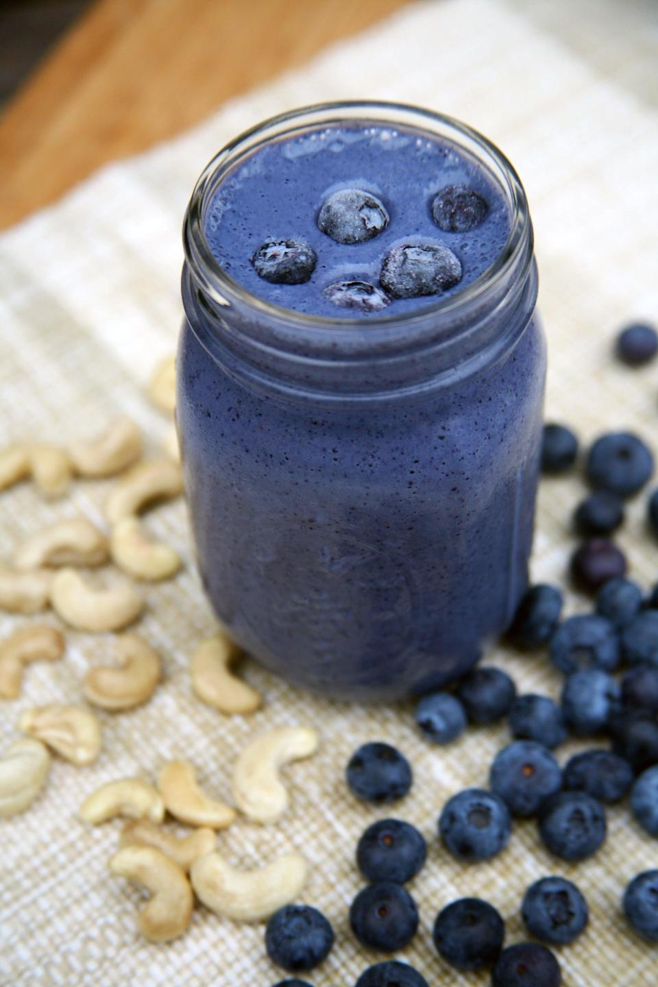 """<p>When you want something that tastes like dessert but still has almost 16 grams of protein and is rich in antioxidants, the blueberry cheesecake smoothie is here for you.</p> <p><strong>Protein:</strong> 15.9 grams</p> <p><strong>Get the recipe:</strong> <a href=""""https://www.popsugar.com/fitness/Blueberry-Cheesecake-Smoothie-40681216"""" class=""""link rapid-noclick-resp"""" rel=""""nofollow noopener"""" target=""""_blank"""" data-ylk=""""slk:blueberry cheesecake smoothie"""">blueberry cheesecake smoothie</a></p>"""