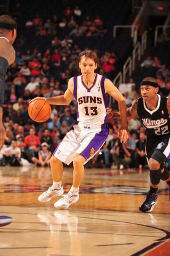 PHOENIX, AZ - MARCH 4: Steve Nash #13 of the Phoenix Suns drives against Isaiah Thomas #22 of the Sacramento Kings in an NBA game played on March 4, 2012 at U.S. Airways Center in Phoenix, Arizona. (Photo by Barry Gossage/NBAE via Getty Images)