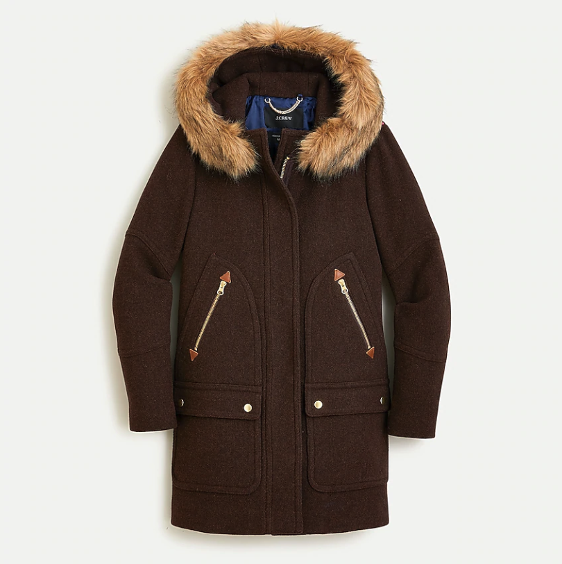 The Duchess of Sussex chose the J.Crew Chateau Parka in Heather Dark Walnut. Image via J.Crew.