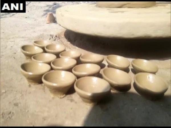 Potters are hopeful for good business ahead of Diwali. (Photo/ANI)