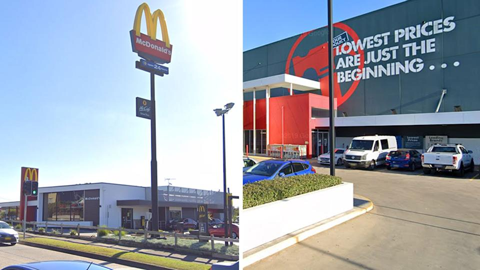 McDonalds in Punchbowl and Bunnings Warehouse in Alexandria are among the new exposure sites. Source: Google Maps