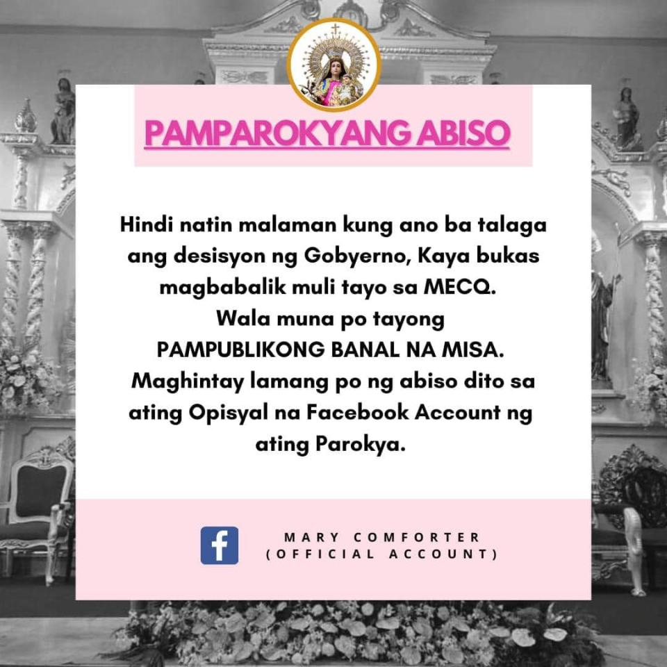 Mary Comforter of the Afflicted Parish (fb.com/mcap1992official)