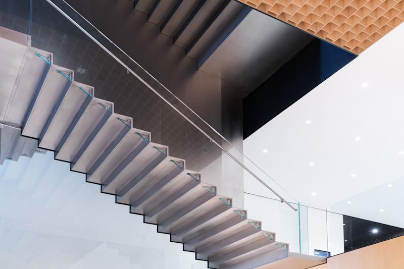 Supported by a six-inch-thin steel spine and distinguished by glass balustrades, MoMA's new stair connects six floors of additional gallery spaces.