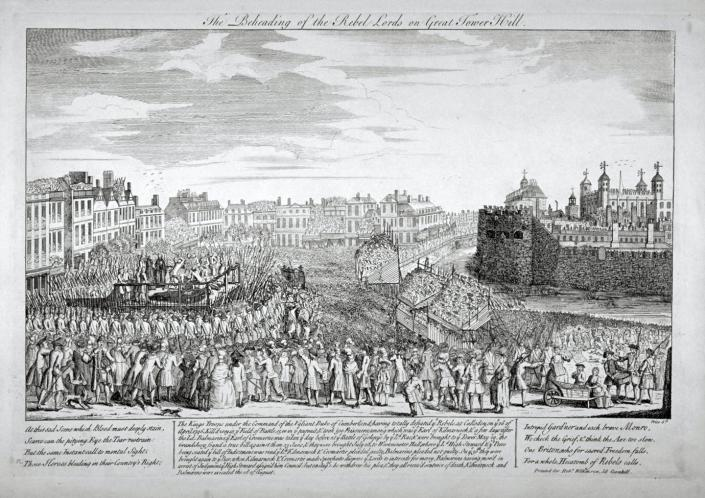 An 18th century scene of an execution in England