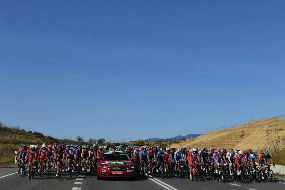 SABIANIGO SPAIN  OCTOBER 24 Peloton  Landscape  during the 75th Tour of Spain 2020 Stage 5 a 1844km Huesca to Sabinigo 835m  lavuelta  LaVuelta20  La Vuelta  on October 24 2020 in Sabinigo Spain Photo by Justin SetterfieldGetty Images