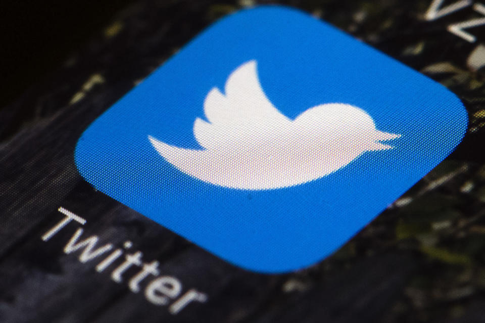 """FILE - This April 26, 2017, file photo shows the Twitter app icon on a mobile phone in Philadelphia. Twitter is launching tweets that disappear in 24 hours called """"Fleets"""" globally, echoing social media sites like Snapchat, Facebook and Instagram that already have disappearing posts. The company said Tuesday, Nov. 17, 2020, the ephemeral tweets, which it calls """"fleets,"""" are designed to allay the concerns of new users who might be turned off by the public and permanent nature of normal tweets. (AP Photo/Matt Rourke, File)"""