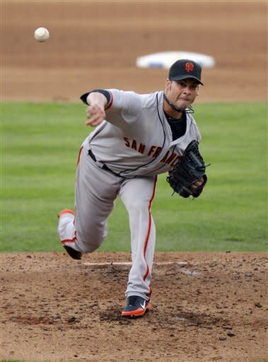 San Francisco Giants starting pitcher Ryan Vogelsong throws to a Los Angeles Dodgers batter during the fourth inning of baseball game, Wednesday, Oct. 3, 2012, in Los Angeles. (AP Photo/Mark J. Terrill)
