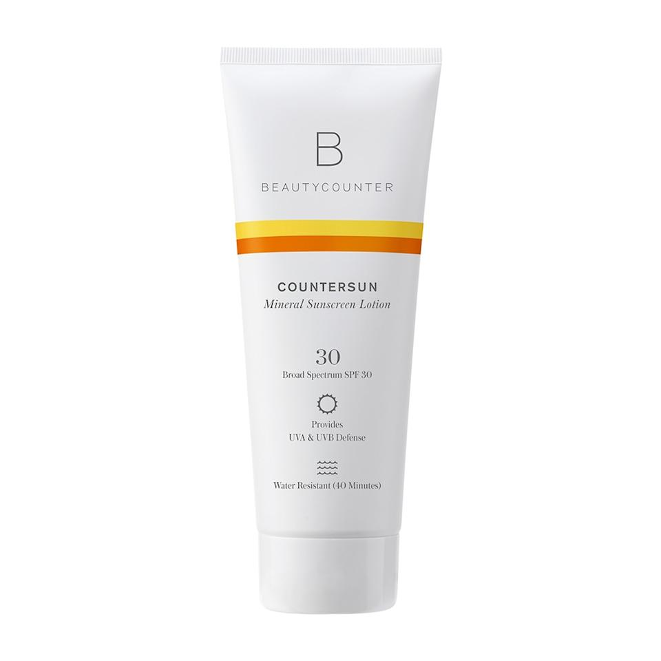 """<h3><strong>Beautycounter</strong> Countersun Mineral Sunscreen Lotion SPF 30</h3><br>Just because a sunscreen is good for the environment doesn't necessarily make it good for you, which is exactly why Beautycounter offers this <a href=""""https://www.ewg.org/sunscreen/report/nanoparticles-in-sunscreen/"""" rel=""""nofollow noopener"""" target=""""_blank"""" data-ylk=""""slk:non-nano"""" class=""""link rapid-noclick-resp"""">non-nano</a> <a href=""""https://www.refinery29.com/en-us/best-zinc-oxide-sunscreen"""" rel=""""nofollow noopener"""" target=""""_blank"""" data-ylk=""""slk:zinc oxide formula"""" class=""""link rapid-noclick-resp"""">zinc oxide formula</a> that's both. (What exactly is a non-nano sunscreen? Most sunscreens <a href=""""https://www.science.org.au/curious/technology-future/nanoparticles-my-sunscreen-should-i-be-worried"""" rel=""""nofollow noopener"""" target=""""_blank"""" data-ylk=""""slk:contain nanoparticles"""" class=""""link rapid-noclick-resp"""">contain nanoparticles</a>, which have the ability to penetrate the skin and reach cells — a <a href=""""https://www.ewg.org/sunscreen/report/nanoparticles-in-sunscreen/"""" rel=""""nofollow noopener"""" target=""""_blank"""" data-ylk=""""slk:non-nano formula"""" class=""""link rapid-noclick-resp""""><em>non</em>-nano formula</a> does not. Although the current consensus is that nanoparticles are safe, some mineral sunscreen users prefer to go without, just in case.)<br><br><strong>Beautycounter</strong> Countersun Mineral Sunscreen Lotion SPF 30, $, available at <a href=""""https://go.skimresources.com/?id=30283X879131&url=https%3A%2F%2Fwww.beautycounter.com%2Fproduct%2Fcountersun-mineral-sunscreen-lotion-spf-30"""" rel=""""nofollow noopener"""" target=""""_blank"""" data-ylk=""""slk:Beautycounter"""" class=""""link rapid-noclick-resp"""">Beautycounter</a>"""