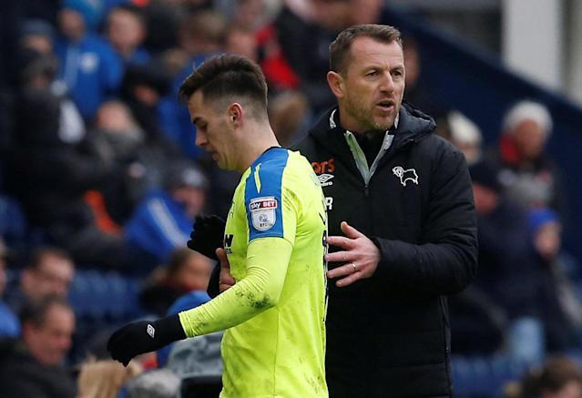 "Soccer Football - Championship - Preston North End vs Derby County - Deepdale, Preston, Britain - April 2, 2018 Derby County manager Gary Rowett congratulates Tom Lawrence as he is substituted Action Images/Craig Brough EDITORIAL USE ONLY. No use with unauthorized audio, video, data, fixture lists, club/league logos or ""live"" services. Online in-match use limited to 75 images, no video emulation. No use in betting, games or single club/league/player publications. Please contact your account representative for further details."