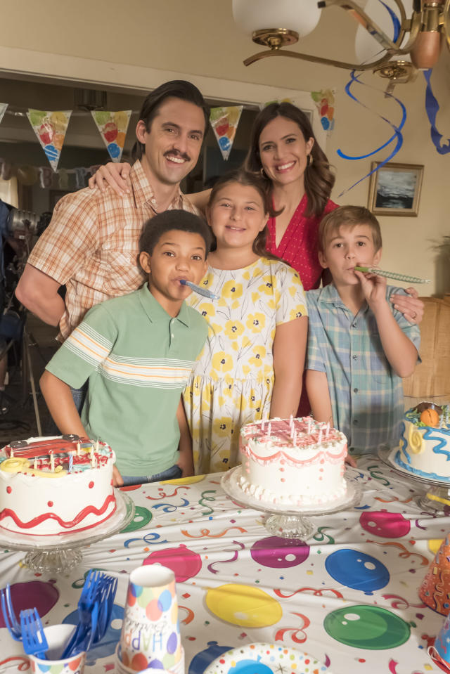 <p>From left: Lonnie Chavis as Randall, Milo Ventimiglia as Jack, Mackenzie Hancsicsak as Kate, Mandy Moore as Rebecca, and Parker Bates as Kevin in NBC's <i>This Is Us</i>.<br> (Photo: Ron Batzdorff/NBC) </p>