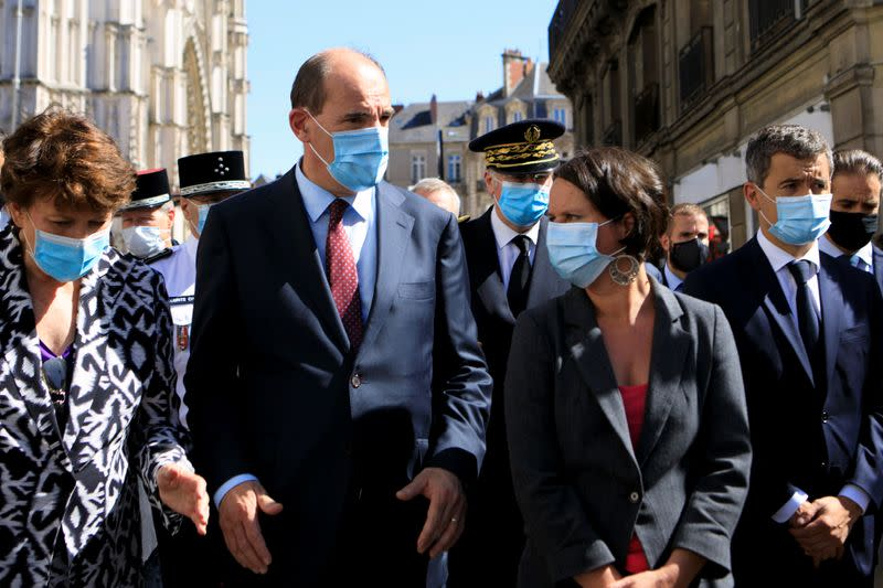 French Prime Minister Jean Castex meets firefighters after the blaze at the Cathedral of Saint Pierre and Saint Paul in Nantes