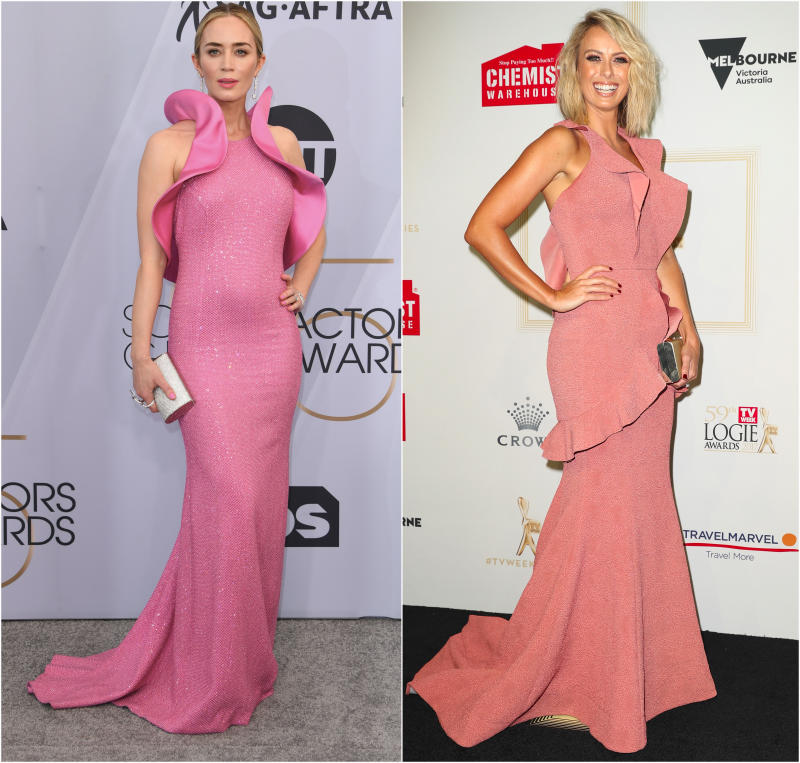 Emily Blunt (left) and Sylvia Jeffreys (right) have both had their red carpet dresses described as part of the female anatomy. Photo: Getty