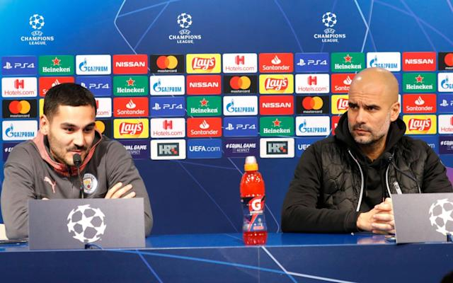 Ilkay Gundogan (left) and Pep Guardiola offered honest appraisals of where Manchester City are right now - REX