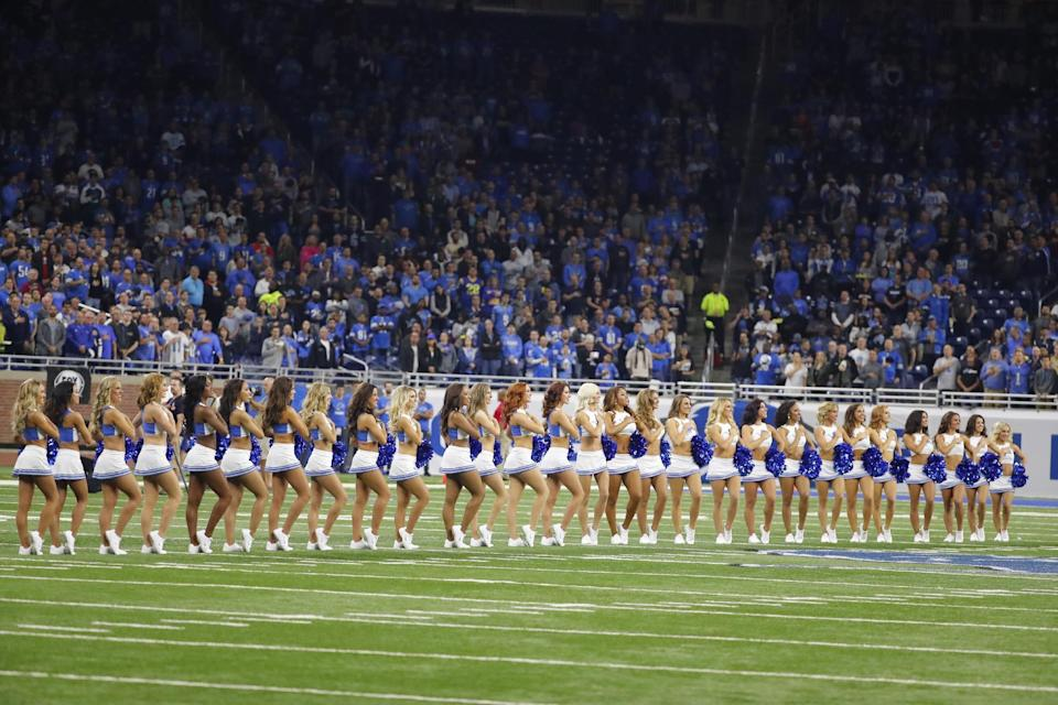 <p>The Detroit Lions cheerleaders stand during the national anthem before the first half of an NFL football game against the Los Angeles Rams, Sunday, Oct. 16, 2016, in Detroit. (AP Photo/Rick Osentoski) </p>