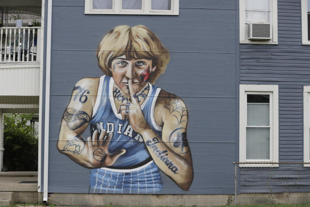 Larry Bird wasn't very happy with this mural depicting him covered in tattoos. (AP Photo/Darron Cummings)