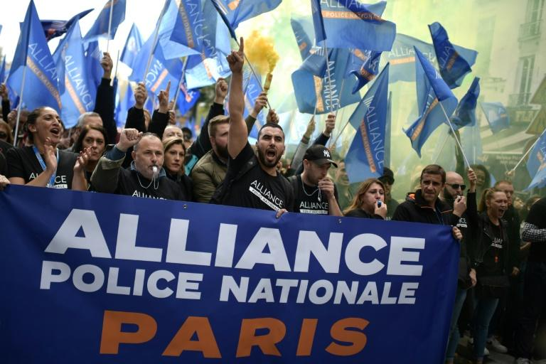 Under French law, police are not allowed to strike or demonstrate while on duty -- but some said they had been given leave by their station chiefs to skip work for the protest