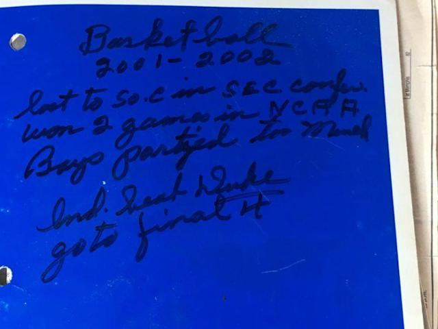 "The front cover of Margaret Swindler's 2001-02 Kentucky basketball scorebook includes a pithy epitaph: ""Boys partied too much."" (Swindler family/Yahoo Sports)"