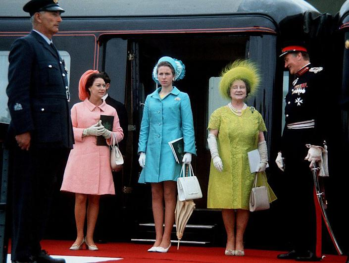 """<p>What's better than one royal in monochrome? Three, of course! In this case, Princess Margaret, Princess Anne, and the Queen Mother at the<a href=""""https://www.townandcountrymag.com/society/tradition/a26576659/prince-charles-prince-wales-investiture-1969-true-story/"""" rel=""""nofollow noopener"""" target=""""_blank"""" data-ylk=""""slk:investiture of Prince Charles"""" class=""""link rapid-noclick-resp""""> investiture of Prince Charles</a> as Prince of Wales in 1969.</p>"""