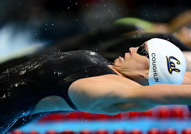 June 26, 2012; Omaha, NE, USA; Natalie Coughlin competes in the semifinal heat of womens 100m backstroke in the 2012 U.S. Olympic swimming team trials at the CenturyLink Center. Mandatory Credit: Andrew Weber-US PRESSWIRE