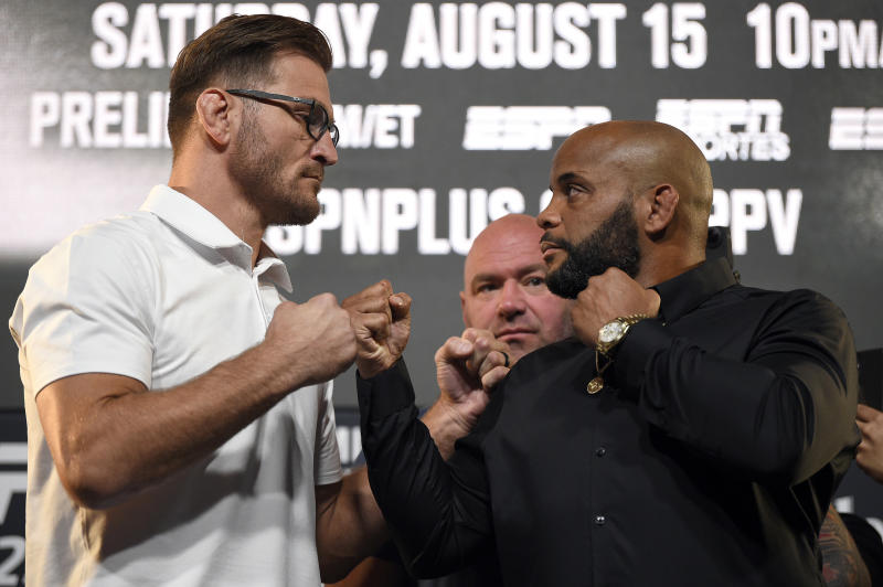 LAS VEGAS, NEVADA - AUGUST 13: (L-R) Opponents Stipe Miocic and Daniel Cormier face off during the UFC 252 press conference at UFC APEX on August 13, 2020 in Las Vegas, Nevada. (Photo by Chris Unger/Zuffa LLC)